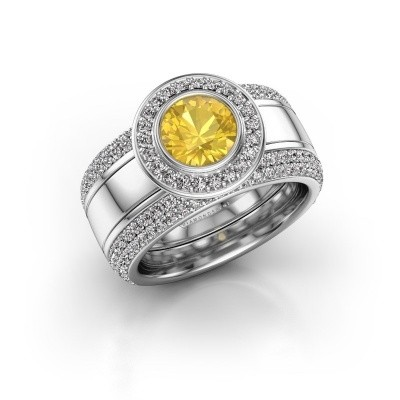 Foto van Ring Roxie 925 zilver gele saffier 6.5 mm
