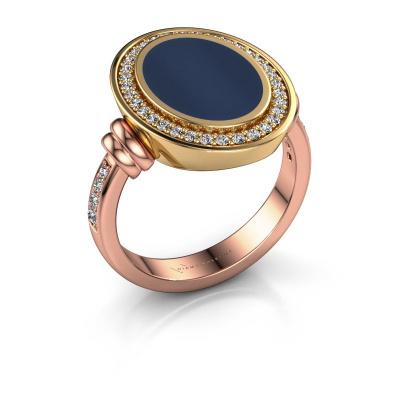 Foto van Zegelring Cristina 585 rosé goud donker blauw lagensteen 14x10 mm