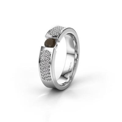 Trouwring WH2100L 925 zilver rookkwarts ±5x3 mm