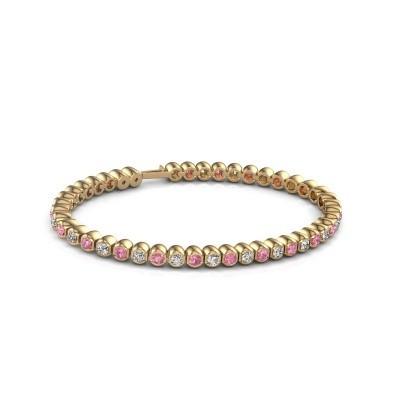 Foto van Tennisarmband Asley 375 goud roze saffier 3 mm