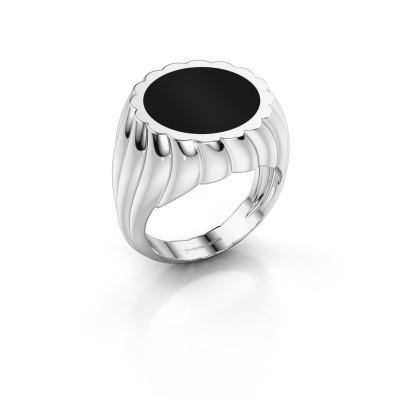Foto van Zegelring Mano 925 zilver onyx 13 mm