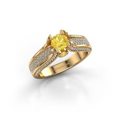 Foto van Verlovingsring Jeanne 2 375 goud gele saffier 5 mm