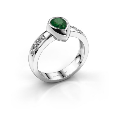 Ring Charlotte Pear 585 white gold emerald 8x5 mm