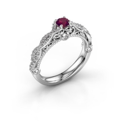 Photo de Bague de fiançailles Chantelle 950 platine rhodolite 4 mm