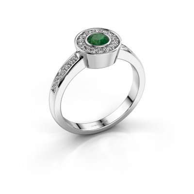 Ring Adriana 2 585 witgoud smaragd 4 mm