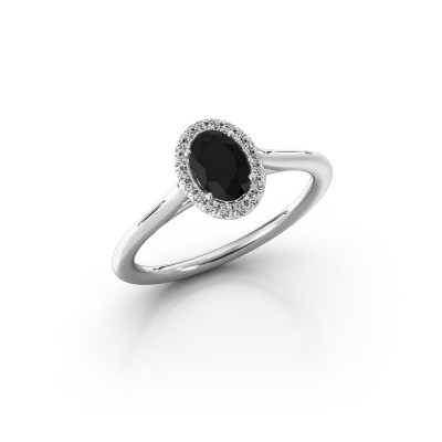 Engagement ring Seline 1 925 silver black diamond 0.69 crt