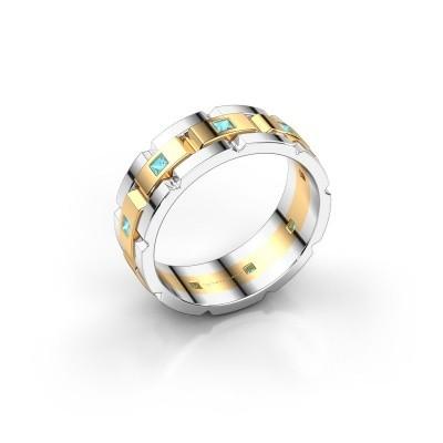 Foto van Heren ring Ricardo 585 goud blauw topaas 2 mm