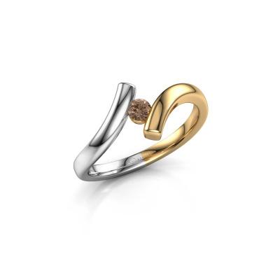 Foto van Ring Amy 585 goud bruine diamant 0.10 crt