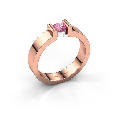 Verlovingsring Isabel 1 585 rosé goud roze saffier 4 mm