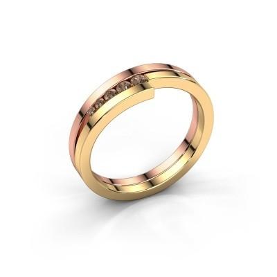 Foto van Ring Cato 585 rosé goud bruine diamant 0.125 crt