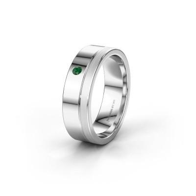 Trouwring WH0301L16APM 585 witgoud smaragd ±6x1.7 mm