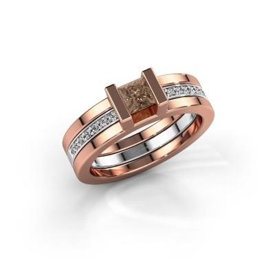 Foto van Ring Desire 585 rosé goud bruine diamant 0.535 crt