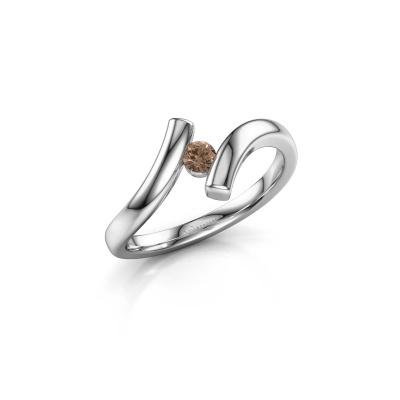 Foto van Ring Amy 950 platina bruine diamant 0.10 crt