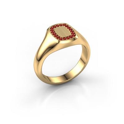 Foto van Heren ring Floris Cushion 1 585 goud robijn 1.2 mm