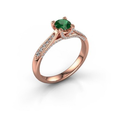 Verlovingsring Mia 3 375 rosé goud smaragd 5 mm