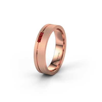 Trouwring WH0156L14X 375 rosé goud robijn ±4,5x1.4 mm