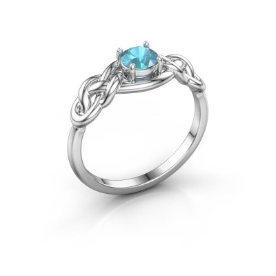 Foto van Ring Zoe 585 witgoud blauw topaas 5 mm
