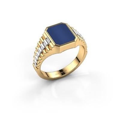 Foto van Rolex stijl ring Brent 1 585 goud lapis lazuli 10x8 mm