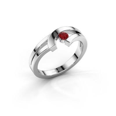 Ring Yentl 925 zilver robijn 3 mm