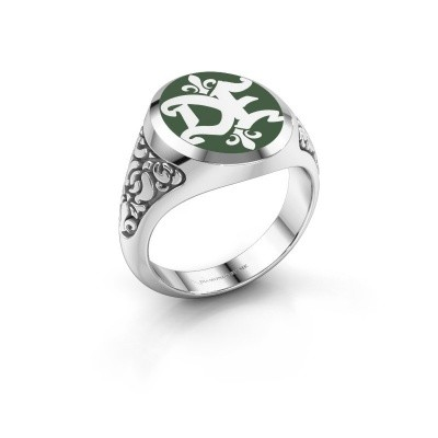 Monogram ring Brian Emaille 375 witgoud groene emaille