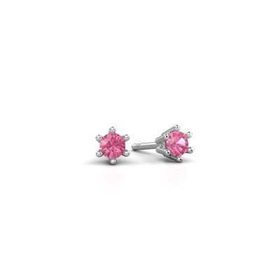 Foto van Oorbellen Fay 950 platina roze saffier 3.4 mm