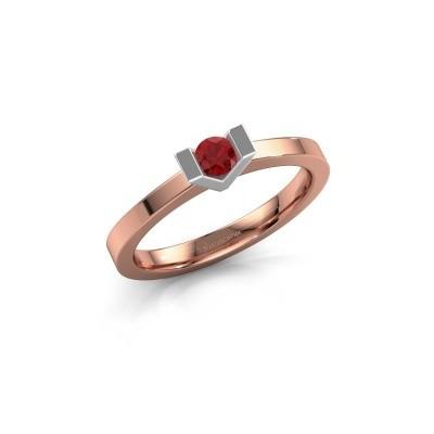 Aanzoeksring Sherley 1 585 rosé goud robijn 3.4 mm
