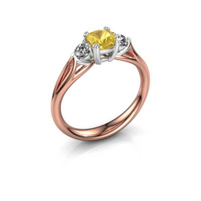 Verlovingsring Amie cus 585 rosé goud gele saffier 5 mm
