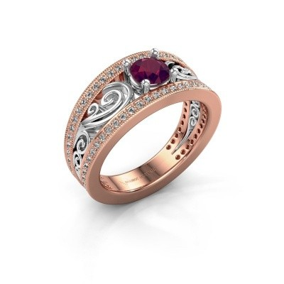 Photo de Bague de fiançailles Julliana 585 or rose rhodolite 5 mm