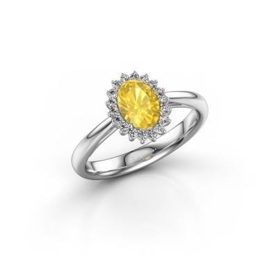 Bild von Verlobungsring Tilly 1 585 Weißgold Gelb Saphir 7x5 mm