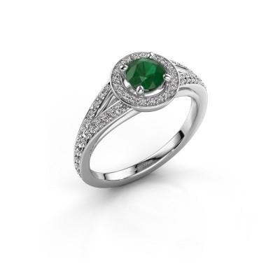 Aanzoeksring Angelita RND 925 zilver smaragd 5 mm