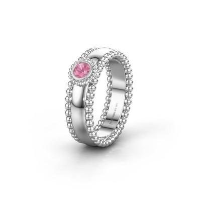 Trouwring WH3053L16A 925 zilver roze saffier ±6x1.7 mm