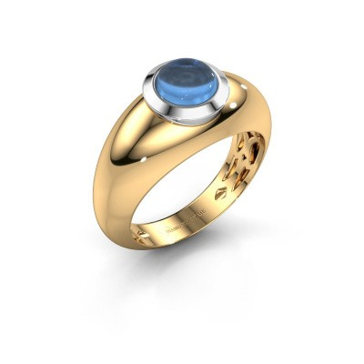 Bague Sharika 585 or jaune topaze bleue 6 mm