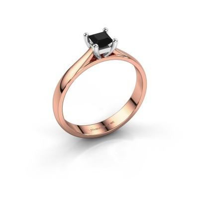 Verlobungsring Sam Square 585 Roségold Schwarz Diamant 0.48 crt