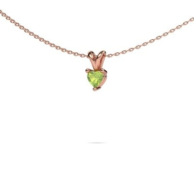 Picture of Necklace Garnet 375 rose gold peridot 4 mm