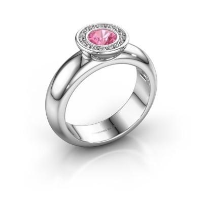 Foto van Stapelring Anna 585 witgoud roze saffier 5 mm