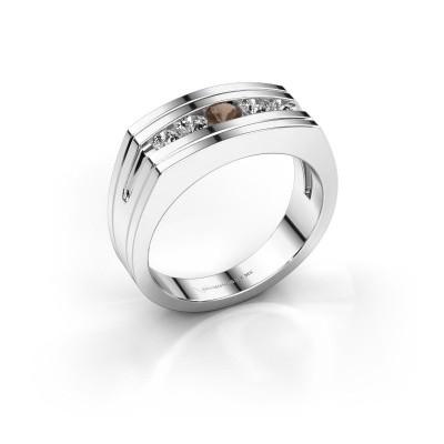 Foto van Heren ring Huub 950 platina rookkwarts 3.7 mm