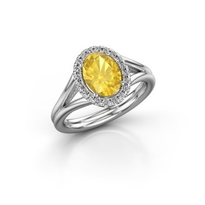 Engagement ring Rachele 1 925 silver yellow sapphire 8x6 mm