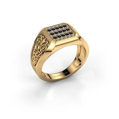 Foto van Heren ring Amir 375 goud zwarte diamant 0.504 crt