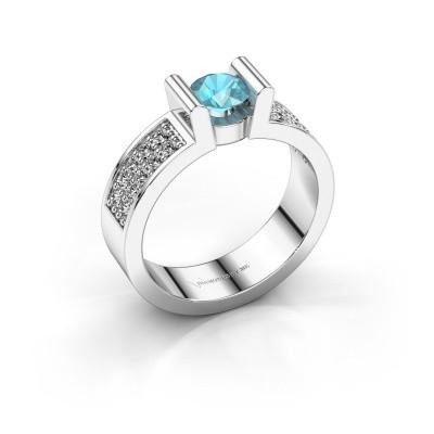 Verlovingsring Sofie 3 950 platina blauw topaas 5 mm