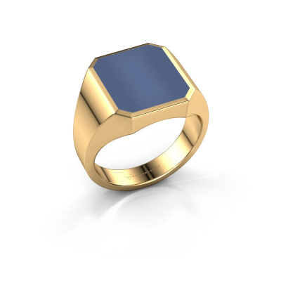 Foto van Zegelring Lars 3 585 goud blauw lagensteen 14x12 mm