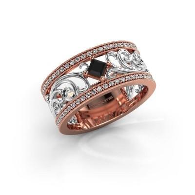 Ring Danae 585 rosé goud zwarte diamant 0.614 crt