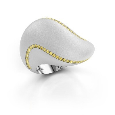 Foto van Ring Phyliss 585 witgoud gele saffier 1 mm