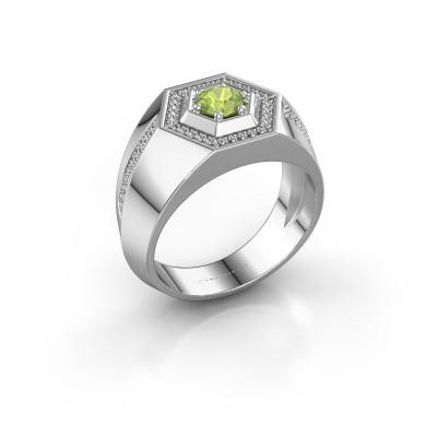 Men's ring Sjoerd 375 white gold peridot 4.7 mm