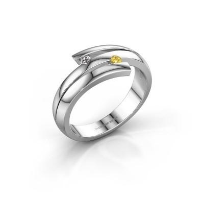 Ring Dena 585 witgoud gele saffier 2 mm