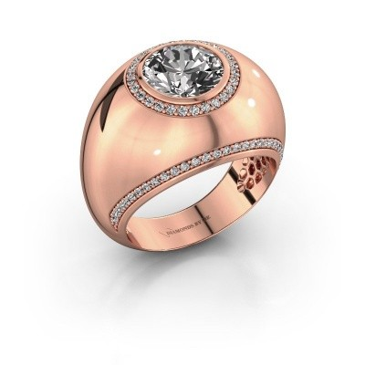 Bague Roxann 375 or rose diamant synthétique 2.41 crt