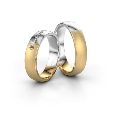 Picture of Wedding rings set WH1101LM25AMP ±5x1.7 mm 14 Carat gold diamond 0.03 crt