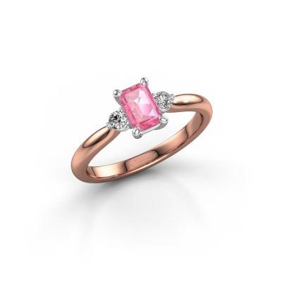 Foto van Verlovingsring Lieselot EME 585 rosé goud roze saffier 6x4 mm