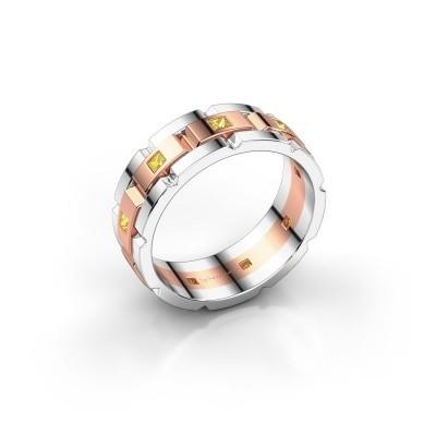 Foto van Heren ring Ricardo 585 rosé goud gele saffier 2 mm