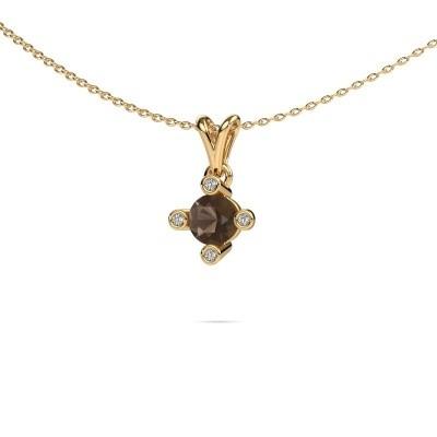 Foto van Hanger Cornelia Round 375 goud rookkwarts 5.5 mm