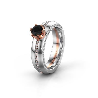 Huwelijksring WH0416L25E 585 rosé goud zwarte diamant ±5x2.6 mm